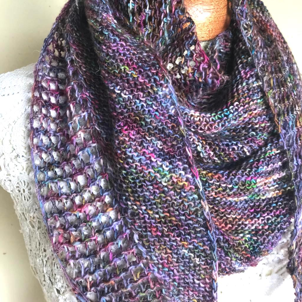 knitted scarf pattern needs only 1 hank of sock weight yarn